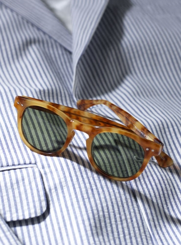 Semi-round Sunglass in Honey with Green Lenses
