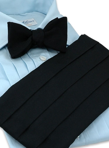 Black Faille Cummerbund/Bow Set