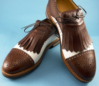 The Nettleton Golf Shoe in White and Brown, Size 10