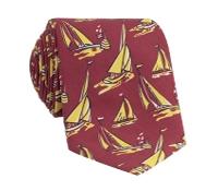 Silk Printed Sailboat Tie in Ruby