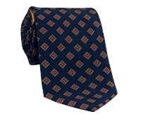 Silk Print Tie with a Diamond Motif in Navy