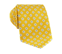 Silk and Linen Square Motif Printed Tie in Lemon