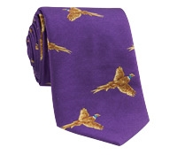 Silk Woven Pheasant in Flight Tie in Purple