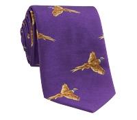 Silk Woven Pheasant in Flight Tie in Purple
