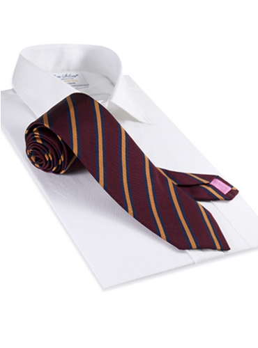 Mogador Woven Stripe Tie in Claret and Amber