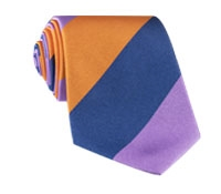 Silk Block Stripe Tie in Violet, Navy and Tangerine