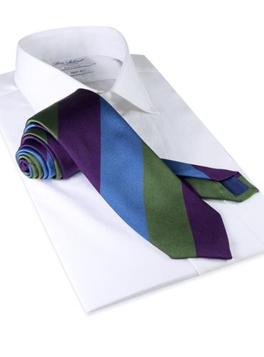 Silk Stripe Tie in Violet, Cornflower and Fern