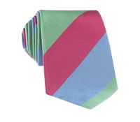 Mogador Block Stripe Tie in Azalea, Sage and Sky