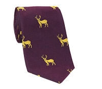 Silk Tie with a Woven Elk Motif in Claret