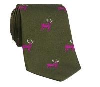 Silk Woven Elk Motif Tie in Field
