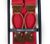 Solid Linen Braces in Red