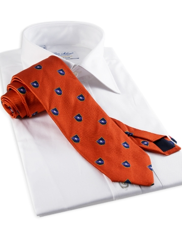 Silk Fanciful Crest Tie in Orange