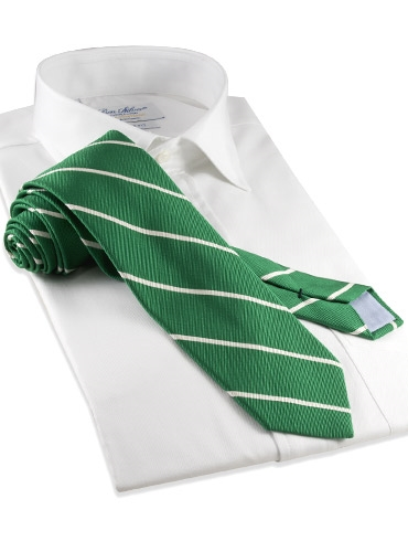 Mogador Thin Bar Stripe Tie in Grass
