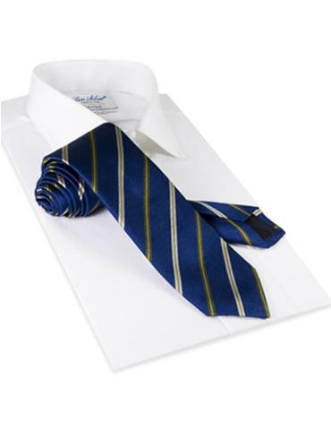 Silk Stripe Tie in Marine