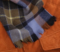 Cashmere Plaid Scarf Navy/Brown/Blue