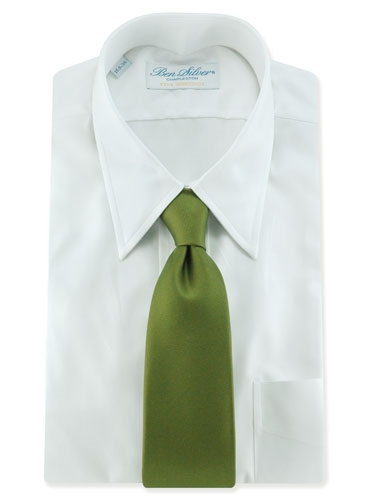 Printed Signature Solid Tie in Olive