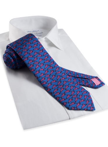 Silk Print Rabbit Motif Tie in Azure