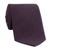 Wool Flower Printed Tie in Claret