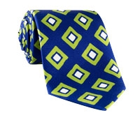 Silk Diamond Print Tie in Navy and Lime
