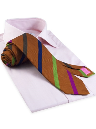 Silk and Cotton Woven Multi Bar Stripe Tie in Beech
