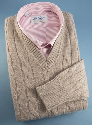 Cashmere Cable Knit Pullover Sweater in Moondust