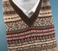 Fairisle Sweater Vest in Mocha