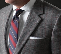 Charcoal Grey and White Glen Plaid Suit in Cashmere and Wool