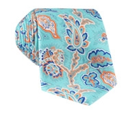 Silk Leaf Paisley Print Tie in Mint