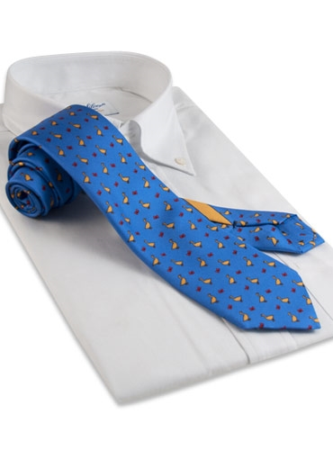 Silk Print Tie with Goose Motif in Cobalt