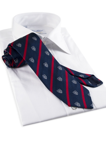 Silk Woven Club Tie in Navy