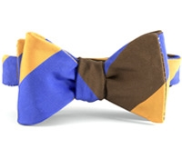 Mogador Silk Block Stripe Bow in Saffron, Sable, and Persian