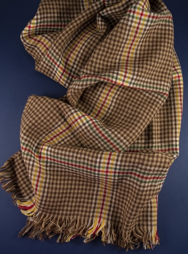 Wool Helmsley Check Scarf in Nutmeg