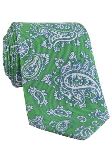 Silk Print Paisley Tie in Malachite