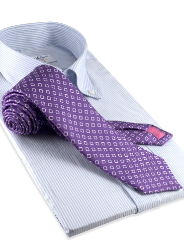 Silk Diamond Motif Tie in Violet