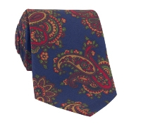 Silk Print Paisley Tie in Navy