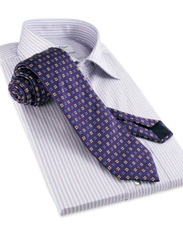 Silk Neat Print Woven Tie in Violet