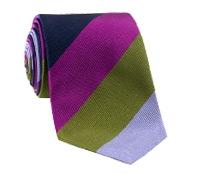 Silk Woven Block Stripe Tie in Violet, Lilac, Fern, Fuchsia, Navy