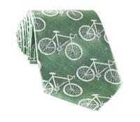 Silk Woven Bike Motif Tie in Sage