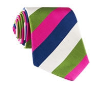 Mogador Silk Stripe Tie in Magenta and Fern