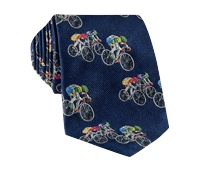 Jacquard Woven Bicyclist Tie in Navy