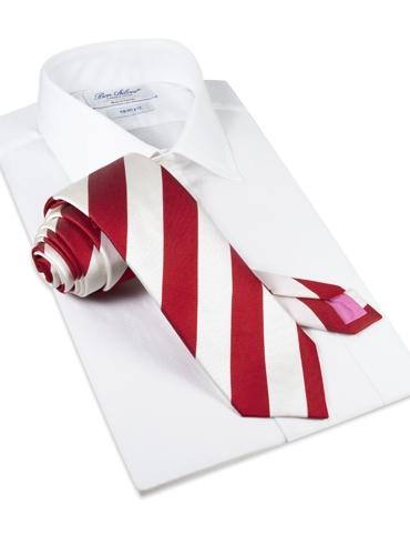 Silk Block Stripe Tie in Ruby