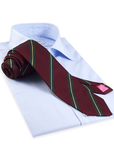 Silk and Cotton Woven Stripe Tie in Claret