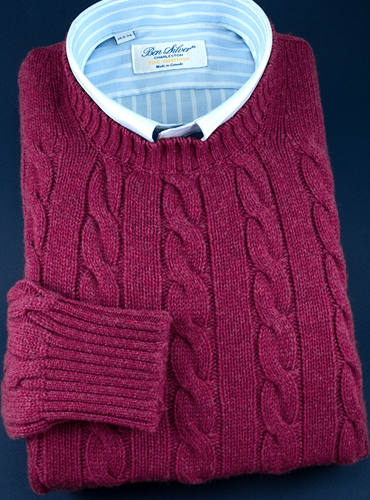Cashmere Cable Knit Sweater in Raspberry
