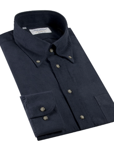 Thin Wale Corduroy Button Down in Navy, Size Medium