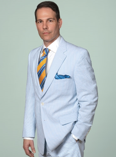 Powder Blue and Cream Seersucker Suit