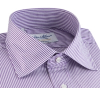 170'S Purple and White Bengal Stripe Spread Collar