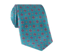 Silk Neat Print Tie in Teal