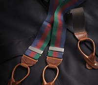 Navy, Wine & Tartan Striped Braces