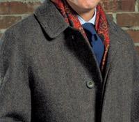 Wool Tweed Chocolate Herringbone Topcoat