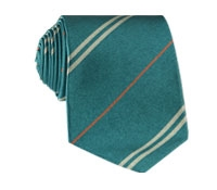 Multi-Stripe Silk Tie in Teal With Tangerine
